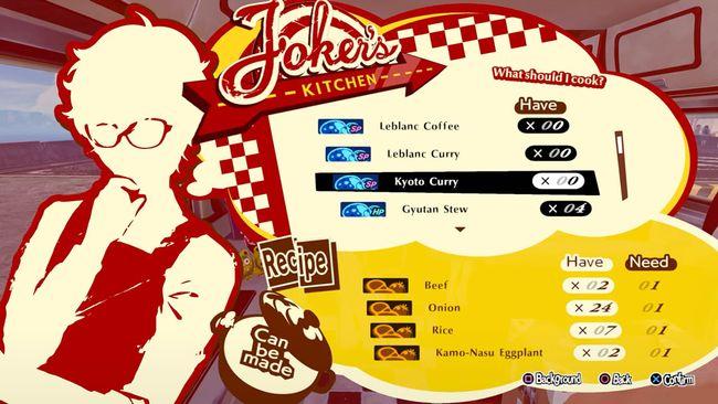 Recetas de Persona 5 Strikers: desbloquea cada receta, junto con la lista de ingredientes y efectos